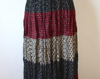 Vintage Indian Cotton Midi Skirt