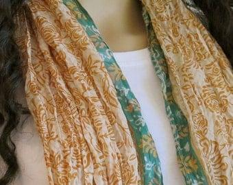 Summer scarf, Silk scarf, Sari Scarf