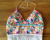 Picnic Kitty Halter Top - Triple Tie Back Top - Open Back - Fringe - Cotton - Festival Coachella Summer Time Top - One Size