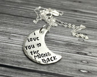 I Love You To The Moon And Back -  Stamped  Moon and Stars Necklace- Hand Stamped Jewelry - Personalized Jewelry - Engraved Jewelry