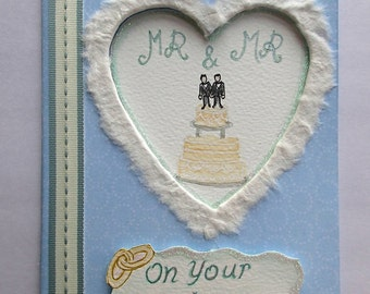 Handmade/Painted Mr & Mr Wedding Card