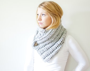The OXFORD - ribbed chunky crochet scarf button cowl scarf - marble