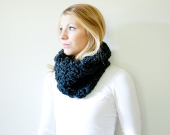 The MORGAN - Chunky Cowl Neckwarmer Scarf - Charcoal - Wool Blend