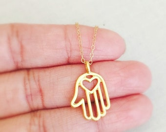 Gold Hamsa Hand Necklace, Gold Filled Chain, Dainty Necklace, Simple Everyday Jewelry, Birthday Gift, Graduation Gift, Small Hamsa Hand