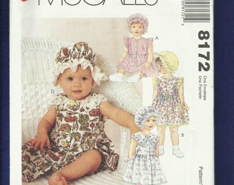 McCalls 8172 Country Sun Dresses & Bonnets for Babies Size 13 to 24 LBS UNCUT