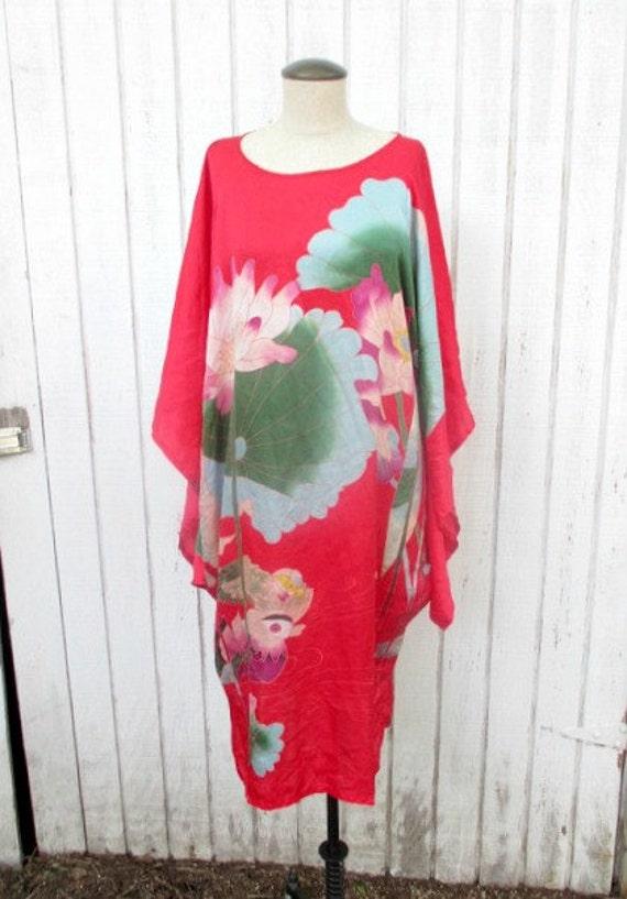80 39 s kimono dress red silk japanese dress koi fish large for Koi fish dress