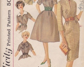 1950s Dress Pattern with Slim or Flared Skirt and Detachable Collars Simplicity 3153 Size 12