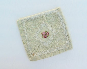 Antique silk and lace hanky case, green silk handkerchief pouch with lace and petitpoint embroidery