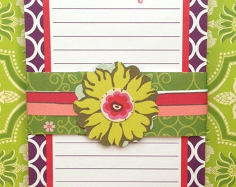 Personalized Purple with Red Geometric Notepad