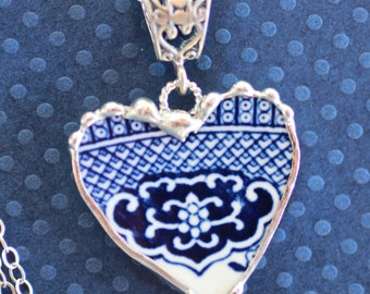 Necklace, Broken China Jewelry, Broken China Necklace, Heart Pendant, Blue Willow China, Sterling Silver, Soldered Jewelry