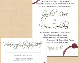 Merlot Red Wine Stains Burgundy Winery Wedding Invitation And RSVP Response  Card Package   Text
