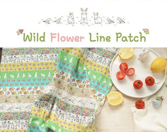 Cotton Linen with Rabit Bird Flower with Stripe, Vintage Colorful Flower Floral, Zaka DIY Fabric, 1/2 yards (QT449)