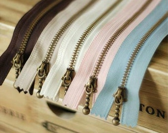 "5Pieces Metal zipper,  Antique Brass Zippers 15cm (5.9"") 30cm (11.8"") 45cm (17.7"") length for choice,(5PCS in a set) (T157)"