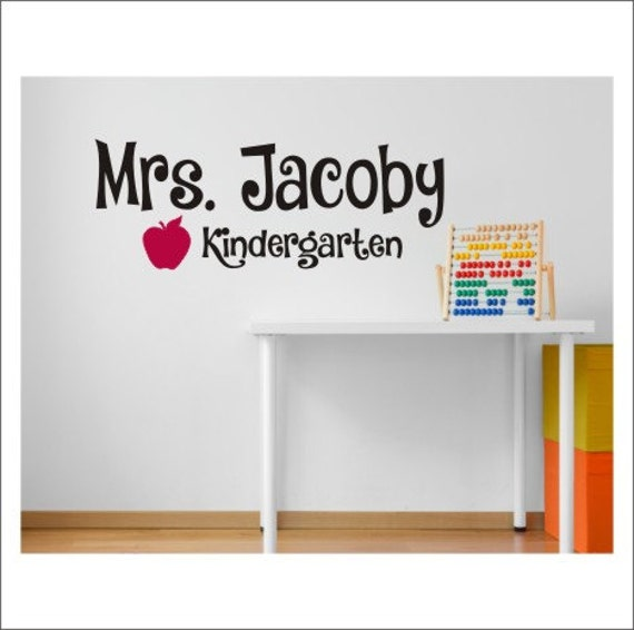 Classroom Decor Vinyl ~ Personalized teacher decal wall vinyl by