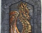 Golden Bronze Dragon's Keep Sculpture - Wall Art - Limited Edition - polymer clay - Bas Relief Sculpture - red gold bronze silver black