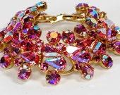 Juliana Delizza Elster Pink AB Rhinestone Bracelet Huge
