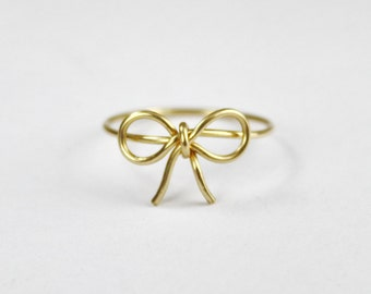 Bow Tie Ring, Gold Filled Wire Wrap Forget Me Knot Ring, Love knot Promise Ring, Friendship Ring