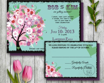 Spring Wedding Invitation Set, Tree Invitation Printable, Summer Wedding Invitation, Flower Invitation, Garden Wedding, Flower Wedding, DIY