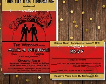 Theater Playbill Invitation for Wedding, Broadway Invitation, Old Hollywood, Same Sex Wedding, Gay Wedding, Gay Marriage, Red Carpet Theatre