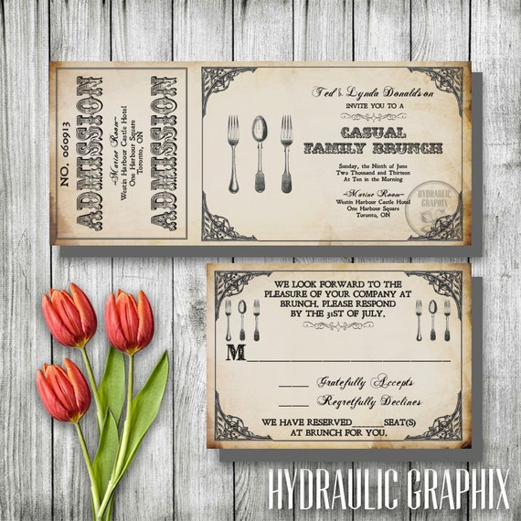 Vintage Brunch Invitation Steampunk Ticket Invitation – After Rehearsal Dinner Party Invitations