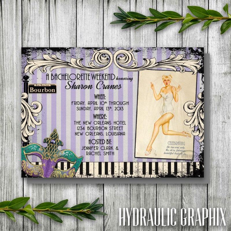 New Orleans Bachelorette Party Invitation Retro Pinup