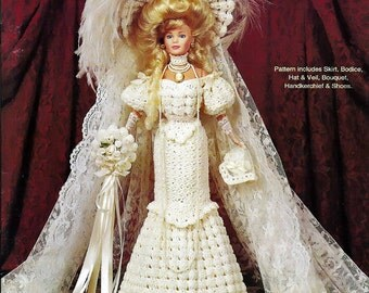 Crochet Collector Costume Volume 27 / 1908 Edwardian Bridal Gown / Fashion Doll  Crochet Pattern P-038