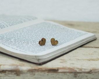 Wooden Heart Earrings