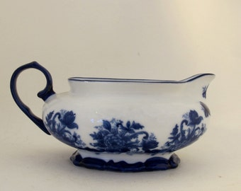 Vintage 60's large blue and white china gravy boat