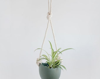 Slate - Porcelain and cotton rope hanging planter