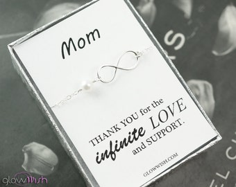 Mothers jewelry, thank you card, gift for mother, infinity bracelet, pearl bracelet, mothers day gift, simple bracelet