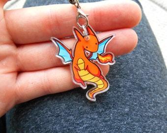 cute orange dragon charm  1.5 inch - jewelry, keychain, pendant, accessories, illustrated jewelry