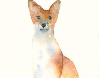 Fox Listening Giclee Print from Original Watercolor Painting