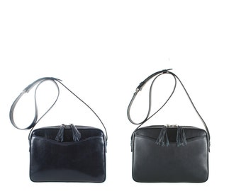 Leather shoulder bag MARA // deep blue, black pebble-grained (Italian calf leather) - FREE shipping, UNIQUE bag