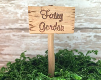 Miniature fairy garden sign planter stake terrarium marker fairy garden accessories accents faux wood miniature miniature fairy dish garden