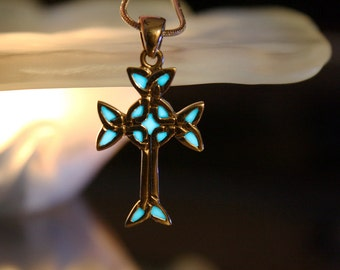 Sterling Silver CELTIC Cross GLOW in the DARK
