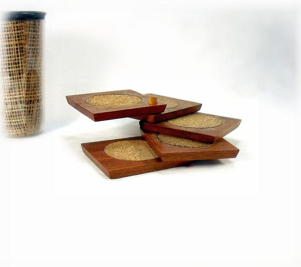 vintage wood cork coaster set on wood swivel by