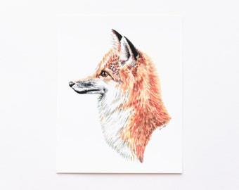 Fox Portrait 8x10 Art Print - Red Fox Woodland Giclée Print