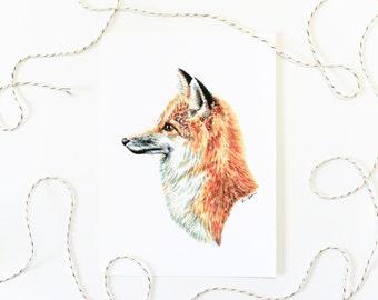 Fox Portrait 5x7 Art Print - Red Fox Woodland Giclée Print