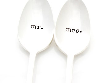 Mr and Mrs spoons for table setting. Hand stamped wedding spoons, for unique engagement gift. As Seen In The Knot.