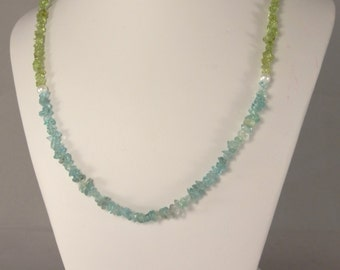 Apatite, Peridot and Freshwater Pearl Necklace