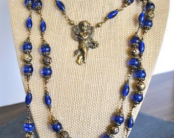 COBLAT BLUE CHERUB angel necklace