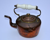Victorian Copper Kettle with Ceramic Handle Vintage Kettle Victorian Kettle Vintage Serving Vintage Kitchen Victorian Kitchen