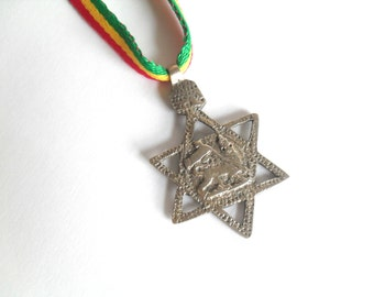 Lion of Judah Necklace - Genuine Ethiopian Star of David Pendant Rastafari Jewelry - Rasta Pendant - Rastafari Jewelry - Reggae Necklace