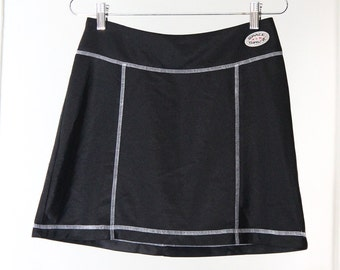 90s Black with White Contrast Stitching Mini Skirt