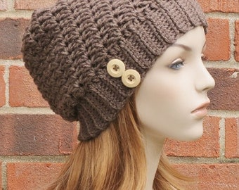 Womens Slouchy Hat Crochet Hat Slouchy Beanie Hat Womens Winter Hat Baggy Beanie Hat Fall Accessories  // THE BLAIRE // Cocoa Brown