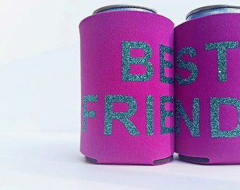 Best Friends Gift Insulated Can Beer Huggie Can Cooler Set of 2 Neoprene