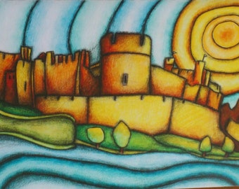 Caerphilly Castle ART CARD  A5 Made in Wales from an original drawing FREE uk p&p