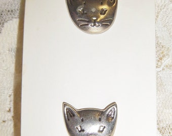 "JHB Button Silver Cat Face 3/4 x 3/4"" Hand Painted Vintage New"