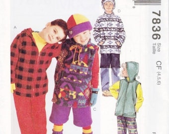 Kids Sewing Pattern McCalls 7836 Girls Boys Fleece Hooded Jacket Top Vest Pants Shorts Hat Stretch Knit Size 2 3 4  or 4 5 6 New UNCUT