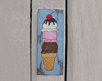 Original Ice Cream Cone Stack Country Cottage Cherry on Top Primitive Folk Art Sign Painting